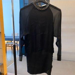 Black Balmain Sheer Back Dress